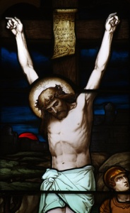 Jesus Christ on the cross in stained glass